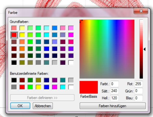 Neu in Embird 8.8D – Strg und Mausklick auf die Farbquadrate