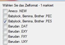 Neu in Embird 2012: Verschiedene PES-Formate