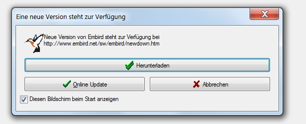 Neu in Embird 2012: Online-Update