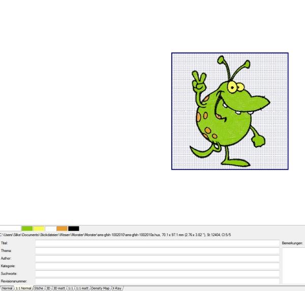 Stickdateien in Originalgröße auf dem Bildschirm anzeigen