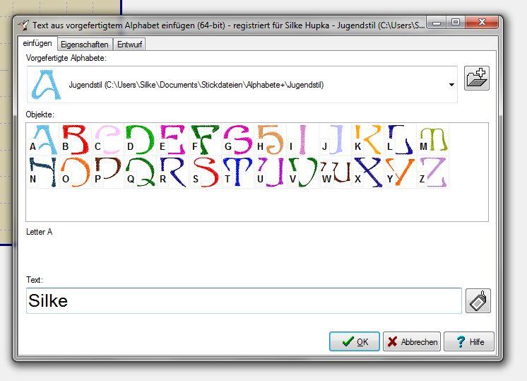 Neu in Embird 2013: Text aus vorgefertigten Alphabeten