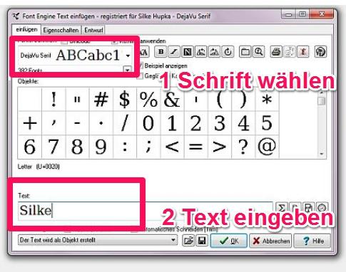 Wie kann ich mit Embird FontEngine Namen und Texte digitalisieren?
