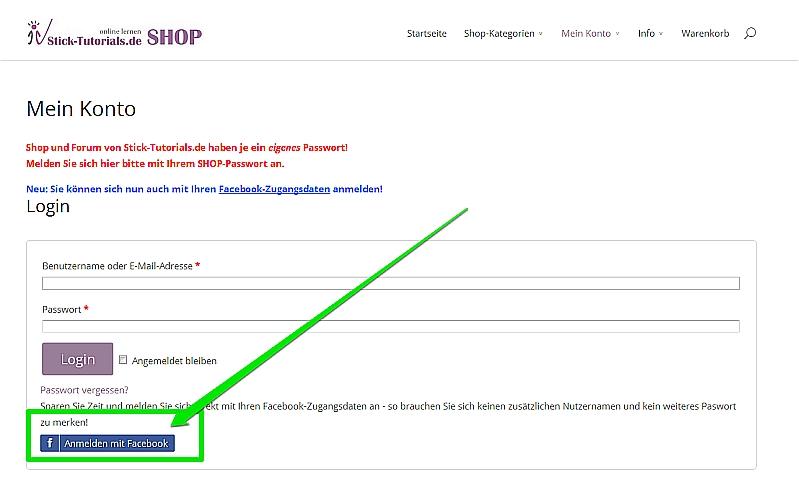 Neu: Shop-Login jetzt mit Facebook