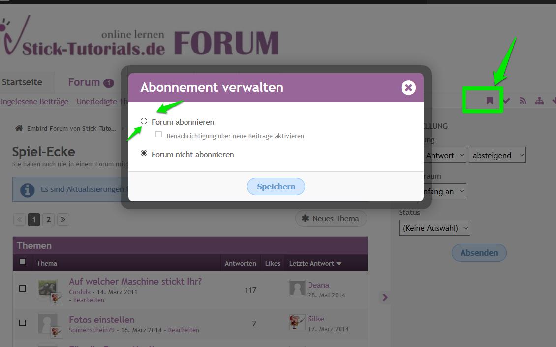 Neu im Forum: Abonnieren von Themen