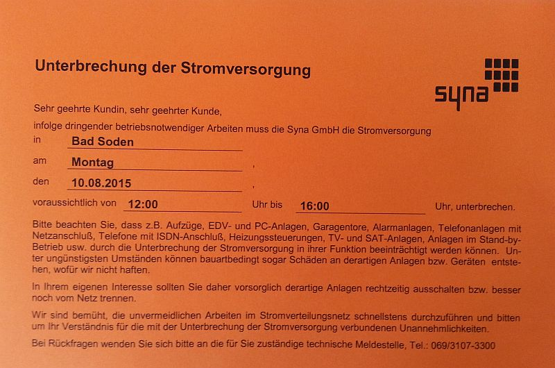 10.08.2015: Wegen Stromabschaltung offline