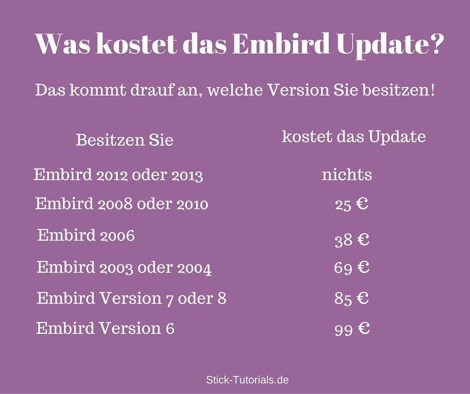 Was kostet das Embird-Update?