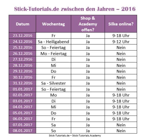 Stick-Tutorials.de zwischen den Jahren